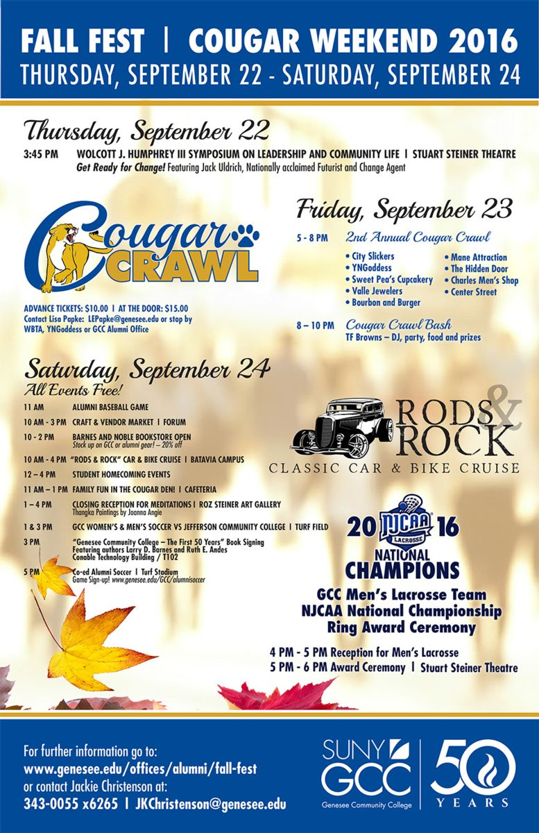 Fall Fest / Cougar Weekend Schedule 2016