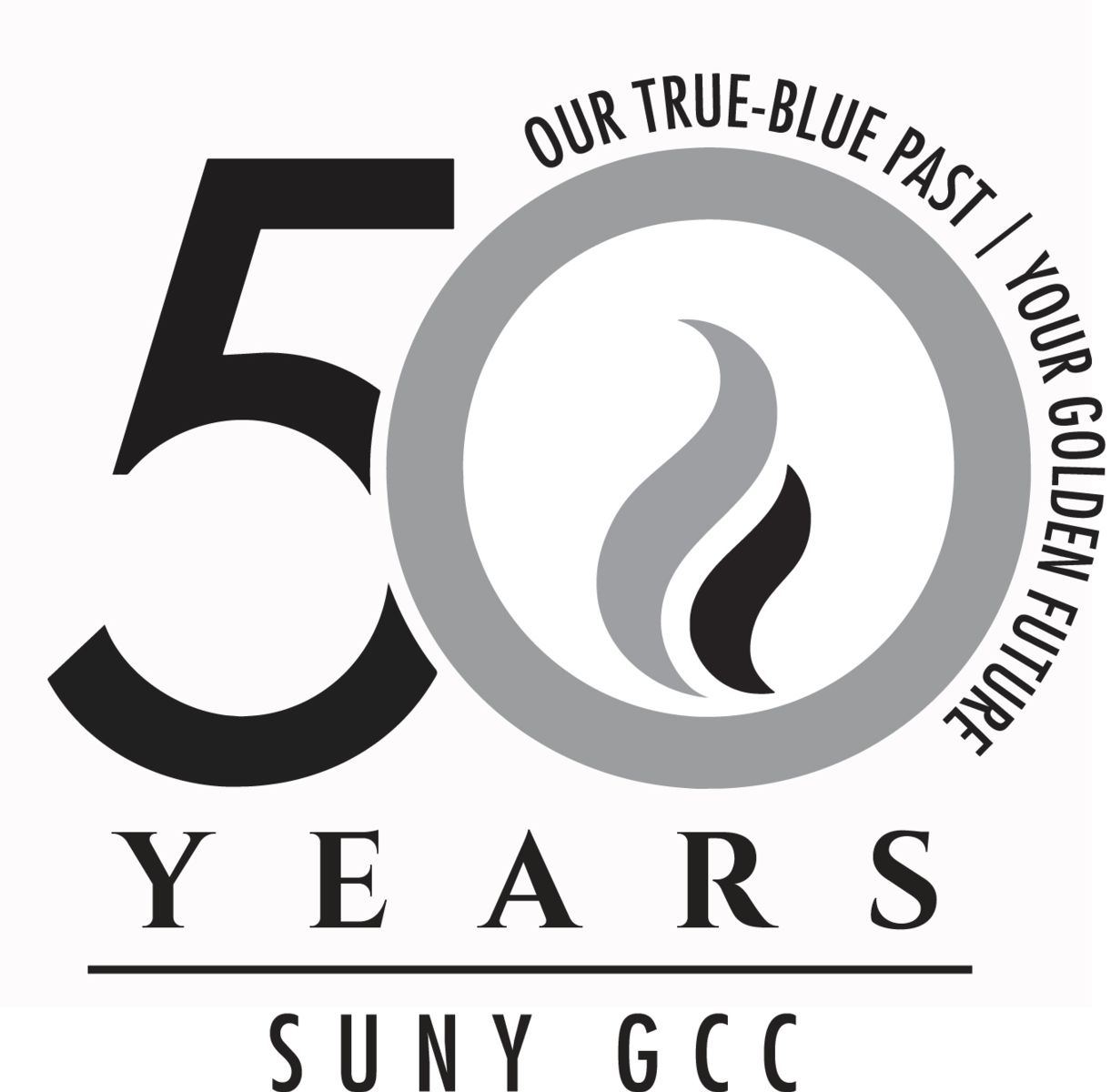 GCC 50th Anniversary Logo - True Blue Variation, Black and White
