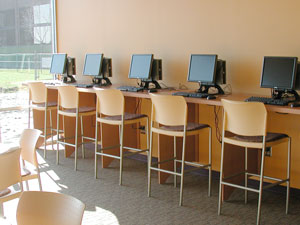 Row of computers in student union