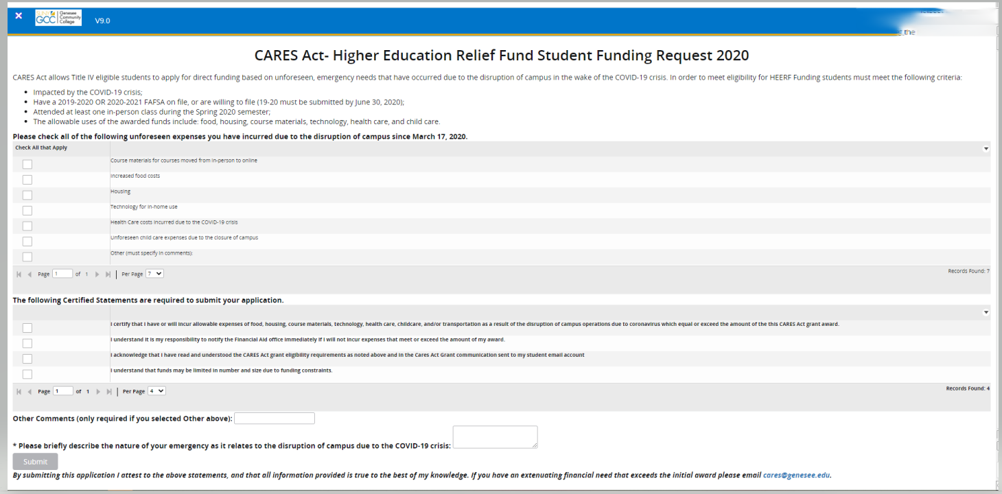 Screen capture of the funding request form to be submitted by TItle IV-eligible students.