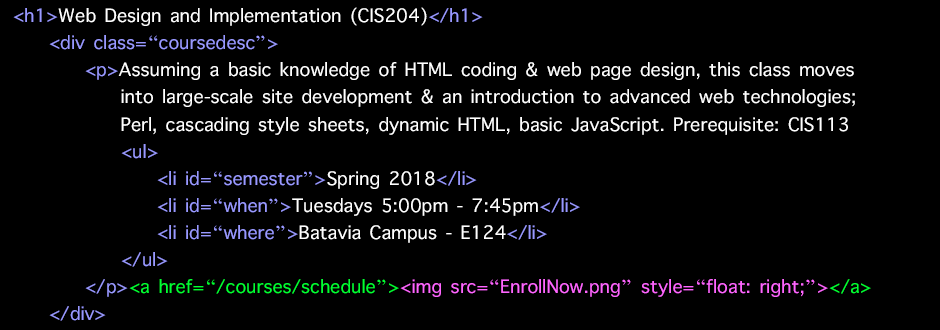CIS204 - Web Design and Implementation - Spring 2018