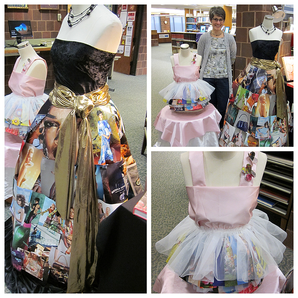 librarian barb biljan and dresses she designed using magazines