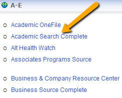 screenshot of arrow pointing at database list